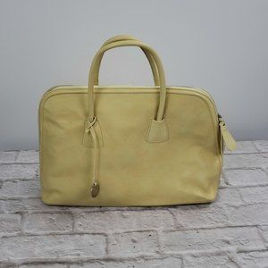 Pulicati  Yellow Leather Large Tote Made In Italy